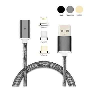 Cargador Magnético, Cable de Jluminación Micro USB-C, Carga Rápida Y sincronización de Datos, Cable de Carga Magnético Para Teléfonos Inteligentes, ...