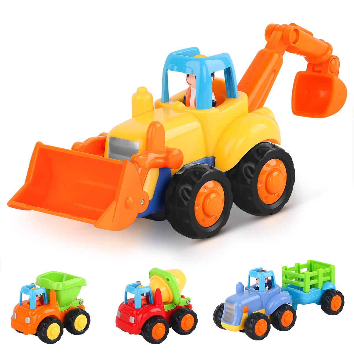 LIDODO Friction Powered Cars Push Go Car Construction Vehicles Toys Set of 4 Toddlers Dump Truck Cement Mixer Bulldozer Tractor Back Cartoon Play Kids car toys