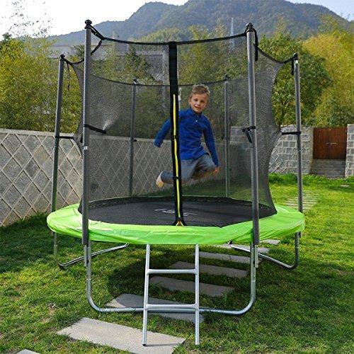 ISE Kindertrampolin mit Sicherheitsnetz, Leiter und Verankerungsset, Durchmesser 250 cm - sy1109