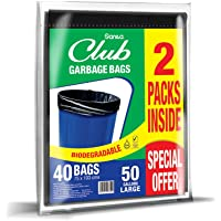 Sanita Club Garbage Bags Flat, 50 Gallons Large - Pack of 2 x 20 Bags