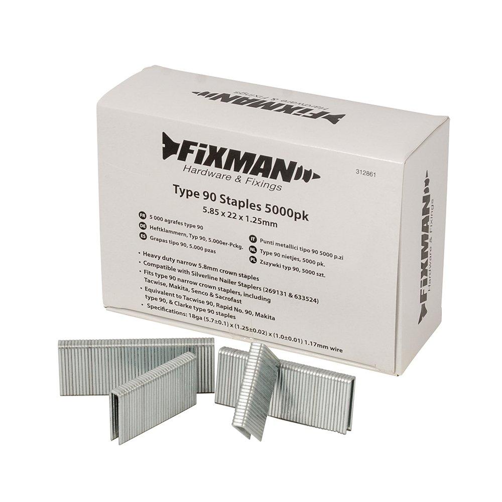 5000 St/ück 5,85 x 22 x 1,25 mm Fixman 312861 Heftklammern Typ 90