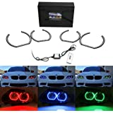 iJDMTOY (4) DTM Style Horseshoe RGB Multi-Color LED Angel Eyes Halo Rings w/ Remote Control For BMW 1 2 3 4 5 Series Headlights Retrofit