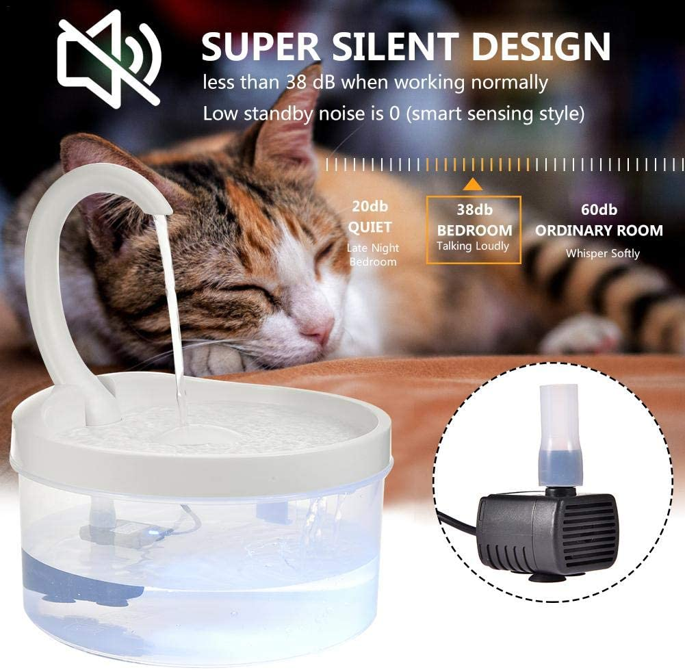 Swan Neck Pet Drinking Fountain Pet Automatic Circulation Drinking Fountain with LED Light and USB Port Pump Filter Cotton Pet Water Dispenser White