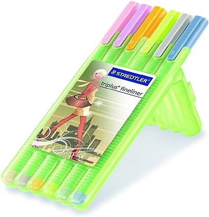 Estuche 6 Rotuladores Staedtler Fineliner Triplus Colores Pasteles: Amazon.es: Oficina y papelería