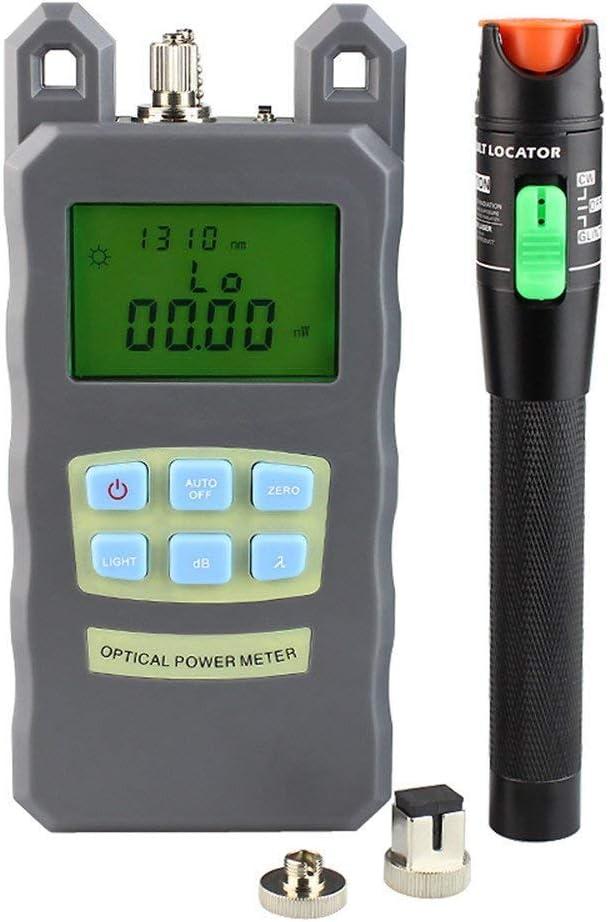 DAXGD Fibra Optica de bolsillo metro de energía + 30 mW fuente luminosa rojo - Localizador visual de défaut comprobador de fibra óptica Cable