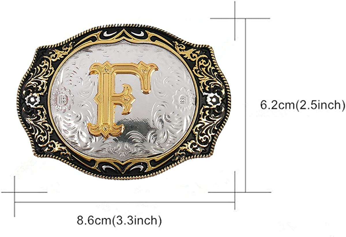 Western Belt Buckle Initial Letters ABCDMRJ to Z Cowboy Rodeo Small Gold Belt Buckles for Men Women