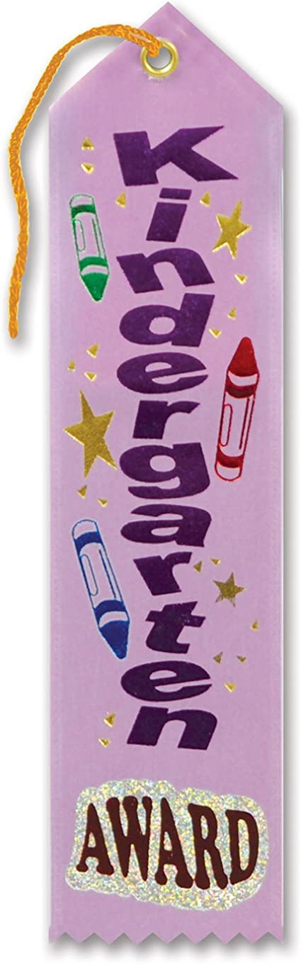 6-Pack Beistle AR027 Kindergarten Award Ribbons 2 by 8-Inch