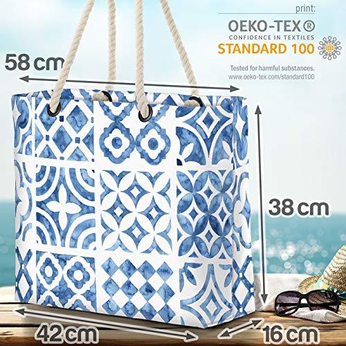 VOID blå ornament strandväska Shopper 58 x 38 x 16 cm 23 L XXL shoppingväska väska resväska Beach Bag