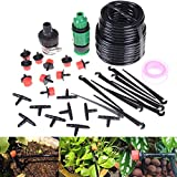 1/4-inch Auto Drip Irrigation Kit Plant Watering System,Driper,Pipe Tubing Hose,Sprayer,Sprinkler,Barbed Fitting,Support Stake,Quick Adapter,Irrigation Equipment for Flower Bed,Patio,Garden,Greenhouse