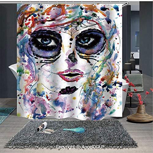 AngelDOU Sugar Skull Decor Waterproof 3D Printed Shower Curtain Halloween Girl with Sugar Skull Makeup Watercolor Painting Style Creepy Decorati for Home Bathroom Decoration]()