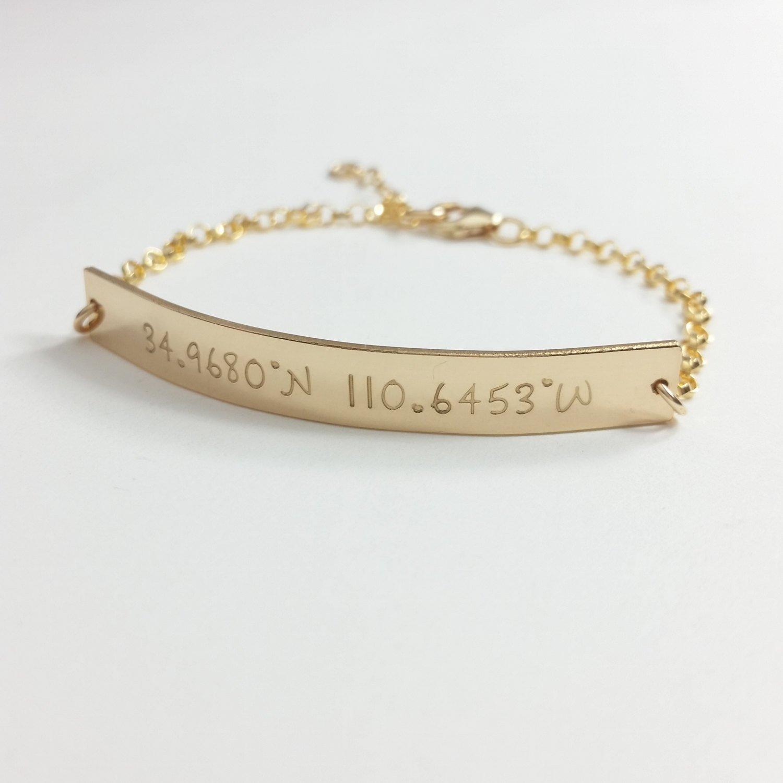 Coordinates bracelet, custom bracelet, coordinates bracelet, personalized, hand stamped, engraved, coordinates jewelry, silver, gold