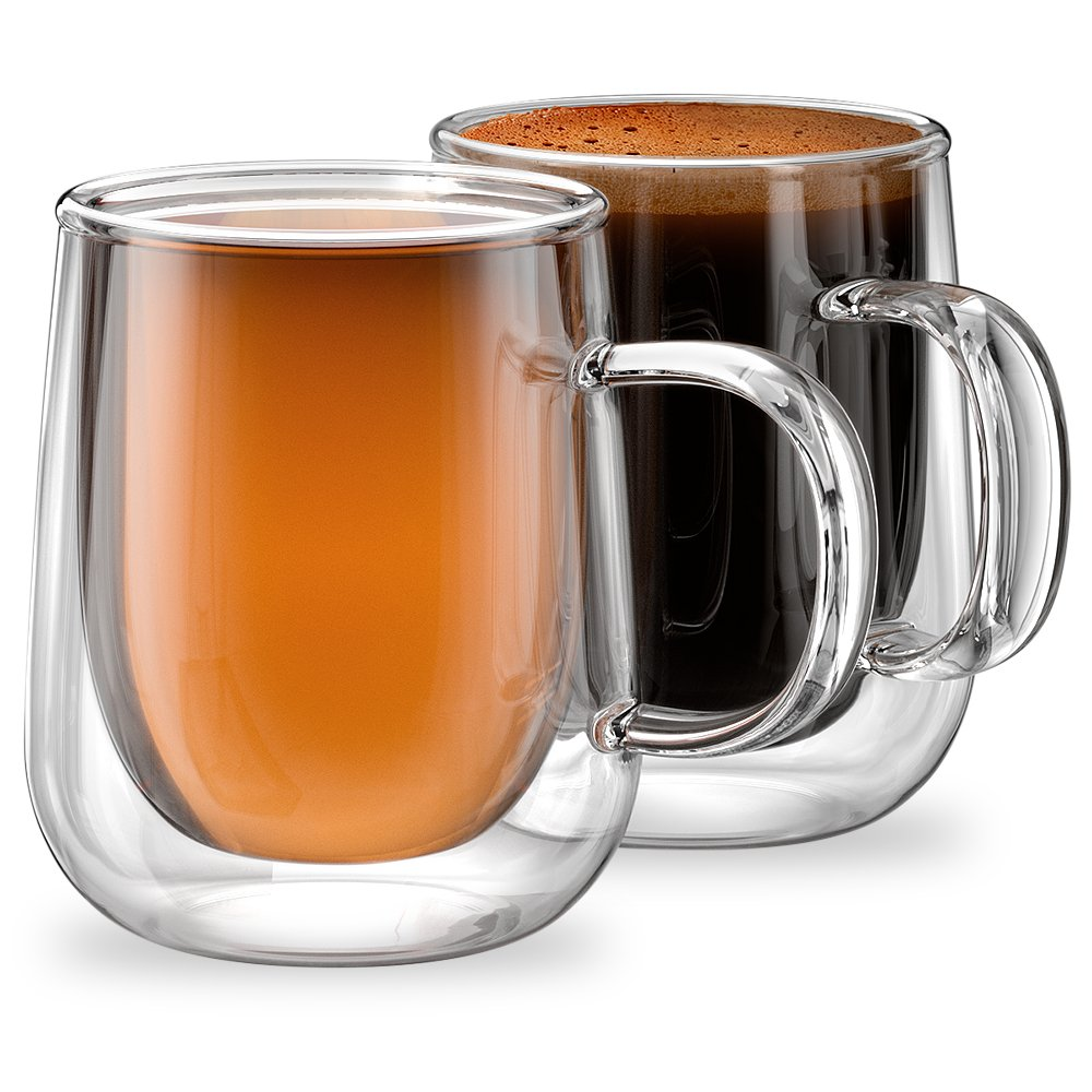 Stone & Mill Homewares Set of 2 Double Walled Glass Coffee Cups, 9.4 Ounce, Venezia Collection, Insulated Mugs for Espresso, Latte, Cappuccino, Tea, Box Set AM-11