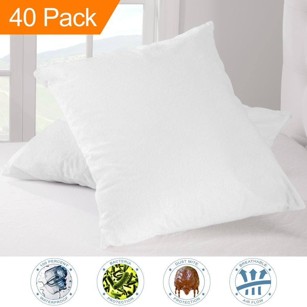 Wholesale 40 Pack Premium Pillow Protector - 100% Waterproof - Vinyl Free Hypoallergenic - Bulk Pack - (Standard Size, Pack of 40)