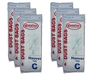 24 Hoover Type C Vacuum Bags for Convertible Upright, Bottom Fill Convertible, Lightweight, O/S Vacuum Cleaners, 43651-050, 43651050, 4010003C, 4010077C, 1340, 1350, 1351, 13560, 1370, 1372, 13290, 1391, 2552, 2552B, 2650, 2651