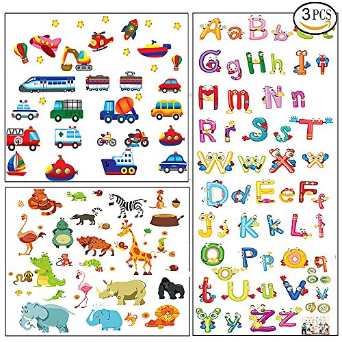 3pcs Animal Alphabet ABC Truck Wall Decals Stickers for Kids Boys Bedroom Room Decor for Toddlers Nursery Wall Decals Children