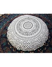 Traditional Jaipur Zilveren Ombre Mandala Vloerkussen, Grote Decoratieve Gooi Kussenslopen 32 inch, Ronde Poef Ottoman, Boho Kussen Shams, Indiase Kussen Cover