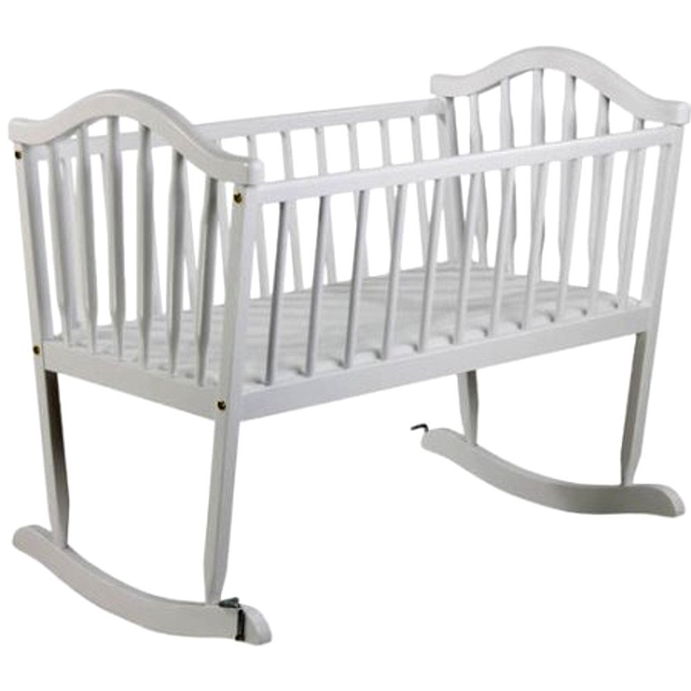 Wooden Rocking Cradle for Infant and Baby, White Rocking Cradle Hardware Bassinet from Wood with Bedding & E-Book center