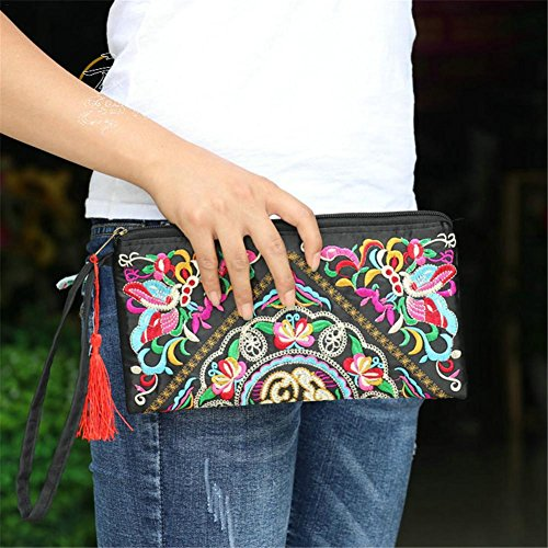 Bag Embroidered Ethnic Brief Canvas Embroidered Clutch Women Bag Shoulder for Case C Clutch Satin butterfly Handbag TPHUFPwq