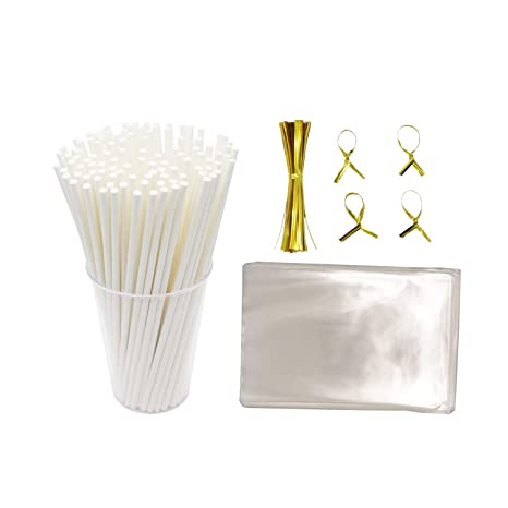 47c72be21db Lollipop wrapping kit including Paper Cookie Sticks (Oven Use 300pcs) Clear  Treat Bags (