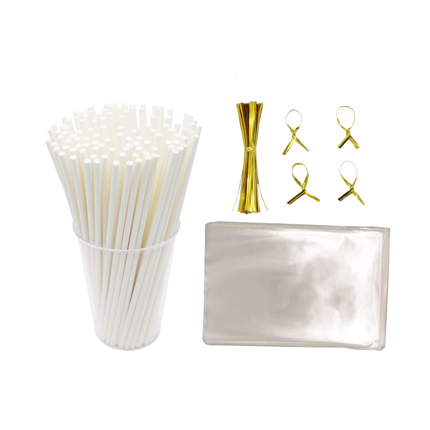 Lollipop wrapping kit including Paper Cookie Sticks (Oven Use 300pcs) Clear Treat Bags (300pcs) and Golden Metallic Twist Tie (300pcs) for cookie candy cake pop