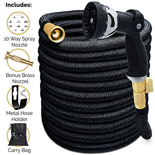 Morvat IMPROVED FOR 2018 Super Heavy Duty Expandable Garden Hose, Super Strength Fabric 3800D All Brass. Includes 10-Setting Spray Nozzle, Extra Heavy-Duty Brass Nozzle + Hose Holder + Carry Bag 150FT by Morvat