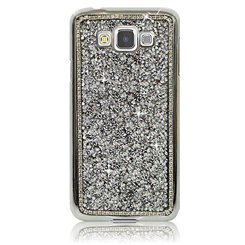Xtra-Funky Serie Samsung Galaxy A7 diamantes de imitación Cristal Rocas del estuche rígido con espumoso Diamante ribete y Chrome Llanta - Plata Plata