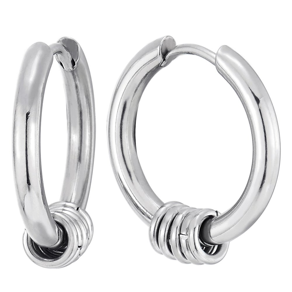 Stainless Steel Circle Huggie Hinged Hoop Earrings with Small Circle Ring Charms for Men Women, 2pcs