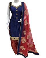 Surat4fashion Women's Blue Cotton Silk Patiala Salwar suit set(ST104_Blue_FreeSize)