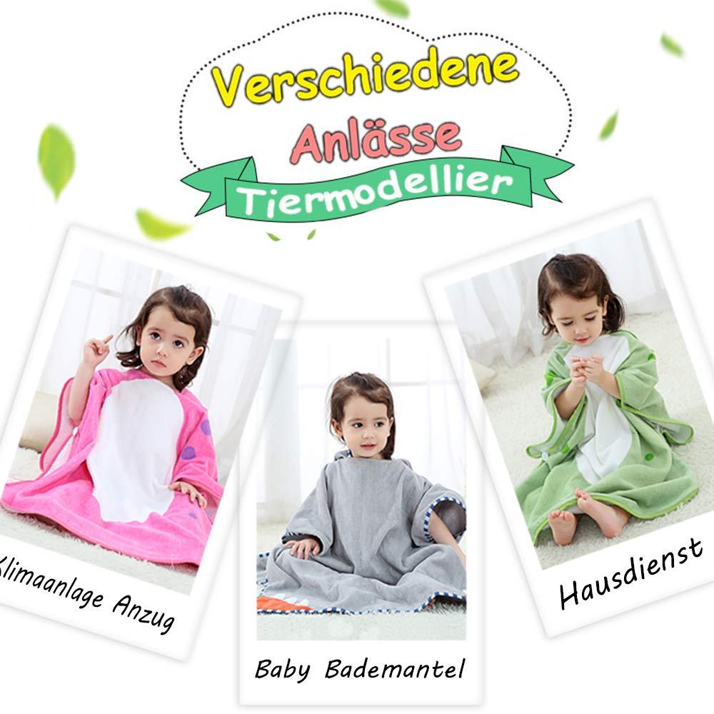 Keven 100/% Baumwolle Baby Kinder Badem/äntel Jungen M/ädchen Tiermodellierung Kapuzen-Poncho 1 bis 8 Jahre Rot, M