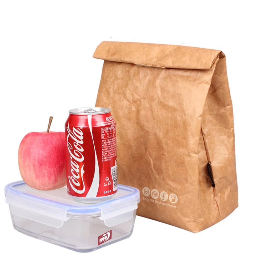 Reusable Brown Paper Lunch Bag Insulated Bento Lunch Box Cooler with Velcro Closure Stylish Eco-friendly for School Office Picnic 6L Oneyongs