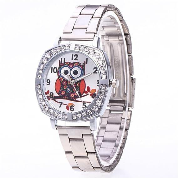 rainbabe 24 cm unisex personalizado búho Imprimir Dial banda de acero cuarzo reloj plateado color: Amazon.es: Relojes