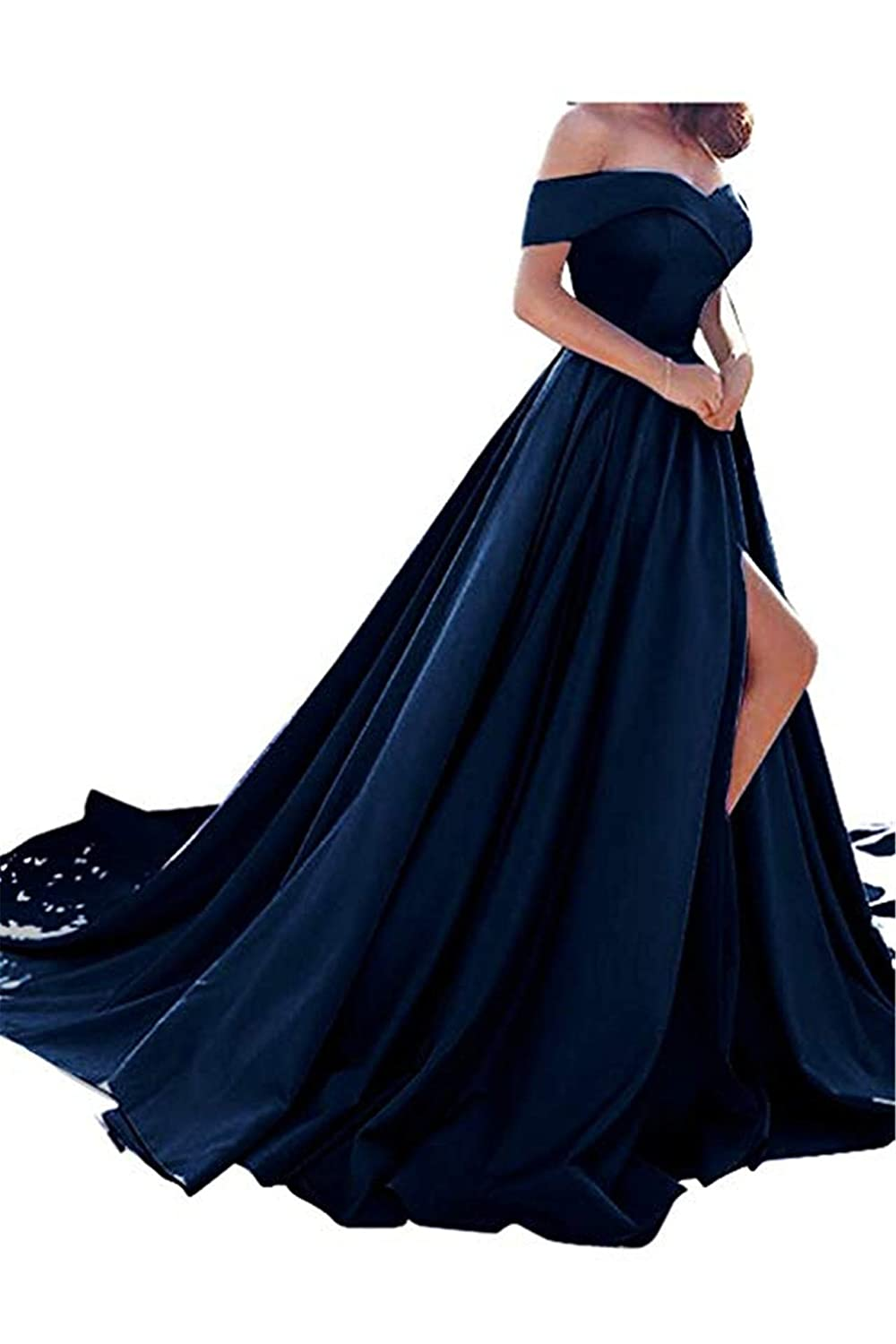 Navy bluee QiJunGe Women's Off The Shoulder A Line Prom Dress Split Satin Formal Evening Gowns Long
