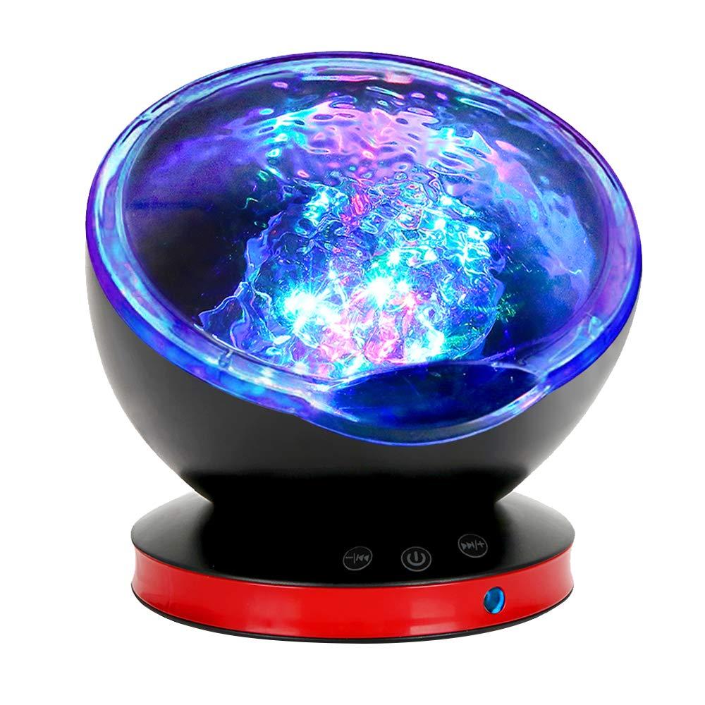 Ocean Wave Projector, Night Light Lamp with Adjustable Lightness Remote Control Timer 8 Lighting Modes Music Speaker Light Show LED Night Light Projector Lamp for Baby Kids Adult Bedroom Living Room