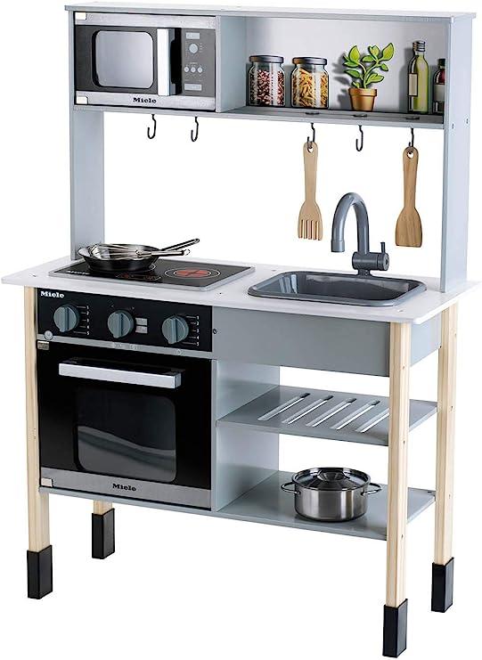Theo Klein 7199 Cocina Miele, Cocina blanca de madera que incluye placa de cocción con luz y sonido, Medidas: 70 cm x 30 cm x 91 cm, Elegantes ...