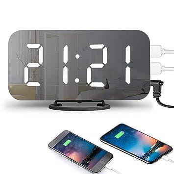 Hangrui Reloj Despertador Digital,Indicador Espejo LED Brillo Ajustable DIMM 2 Puertos USB de Carga