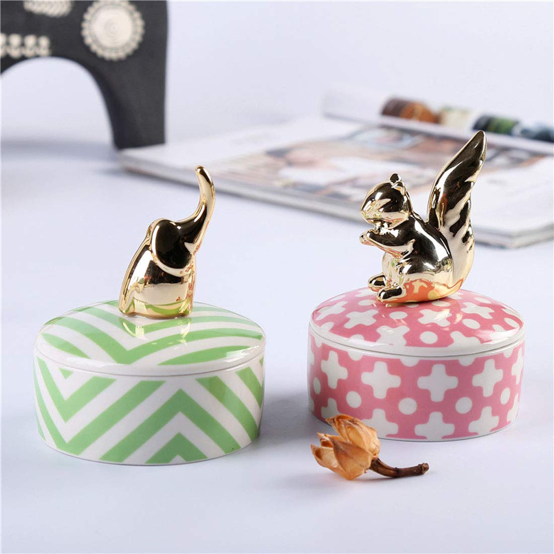 Cool Lemon Ceramic Golden Squirrel Elephant Ring Jewelry Box with Lid Ornament Decorative Box Engagement Wedding Ring Holder,Gift for Girls /& Women,