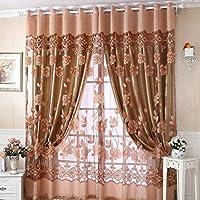 Curtain, Gotd 1PC Floral Voile Door Curtain Window Curtain Room Divider 250cmx100cm (Coffee)