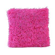 Becoler Home Decorative Super Soft Plush Fake Fur Throw Pillow Cover Cushion Case Home Decor (Hot Pink, 18 x 18 inch)