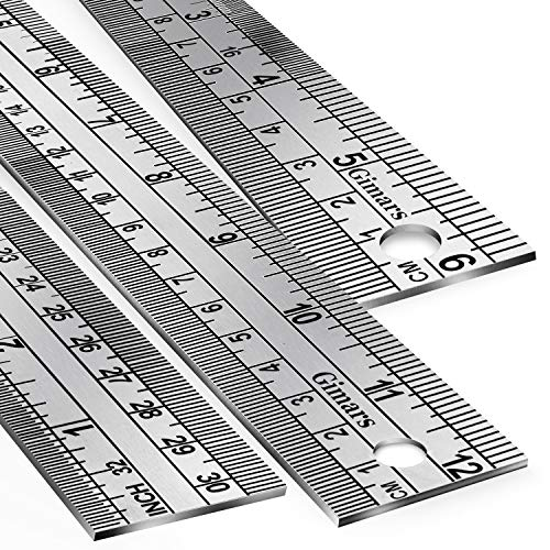 Gimars 3 Pcs Nonslip Unique Measure on Both Ends Design 6 +12 inch Stainless Steel Metal Ruler Kit, Easy to Read Inch&mm&cm Directly, More Polished Edge for School, Office, Architect, Engineers, Craft ()
