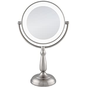 Zadro 10X/1X Dual Sided Next Generation Led Lighted Dimmable Touch Vanity Mirror, Satin Nickel