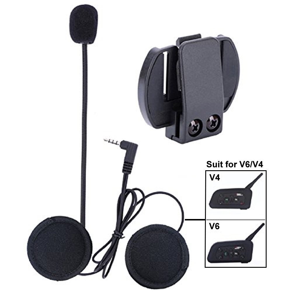 Microphone Headphone Hard Cable Headset & Clip Accessory for New V6/V4 Motorcycle Helmet Bluetooth Interphone Motorbike Intercom by VNETPHONE