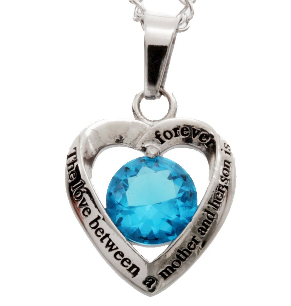 R.H. Jewelry Stainless Steel Light Blue Glass Crystal Mother and Son Heart Pendant