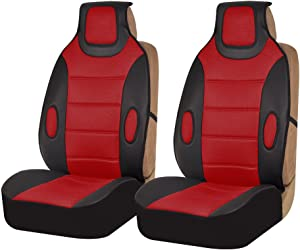 FH Group FB202102 Leatherette Cushion Pads with 3D Air Mesh (Red) Front Set – Universal Fit for Cars Trucks & SUVs