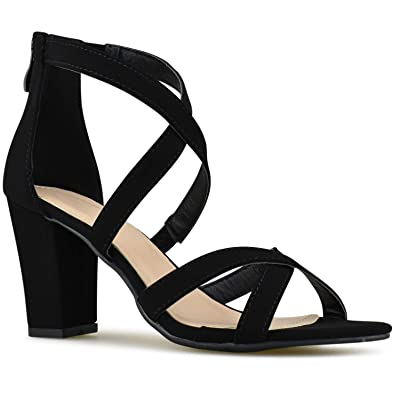 30316aa6f62406 Premier Standard - Womens Strappy Open Toe High Chunky Heel - Sexy Stacked  Wooden Heel Sandal