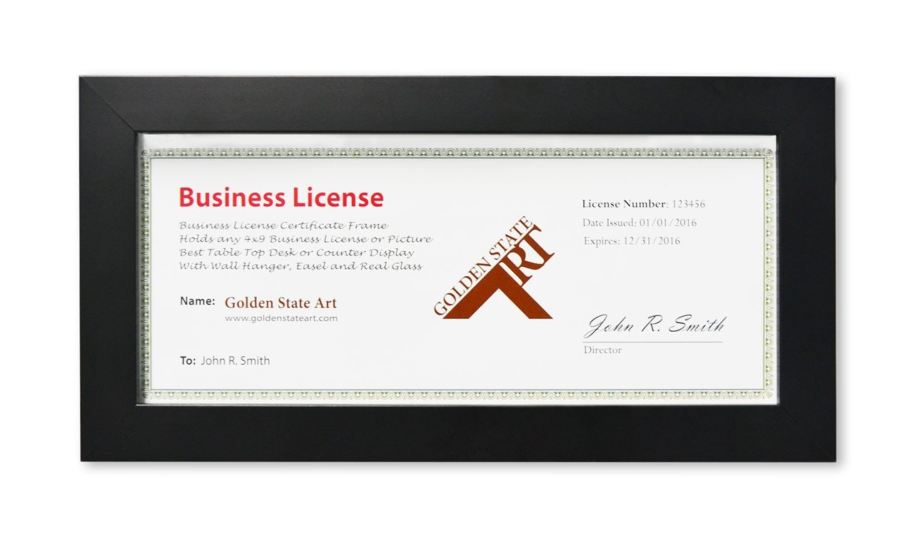 Golden State Art, Wood Frame for 4x9 Business License Certificate with Real Glass & Table-top Display, Black by Golden State Art