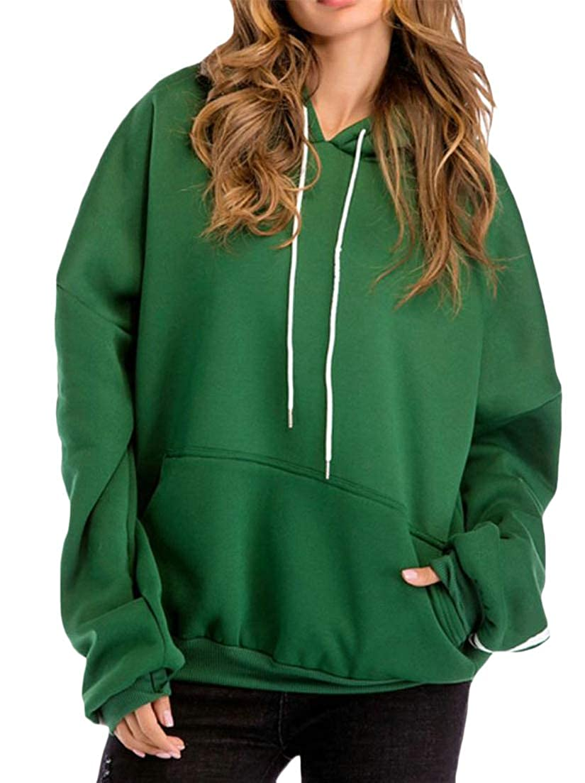 Macondoo Womens Fleece Hoodies Pocket Autumn Winter Stripe Plus Size Sweatshirts