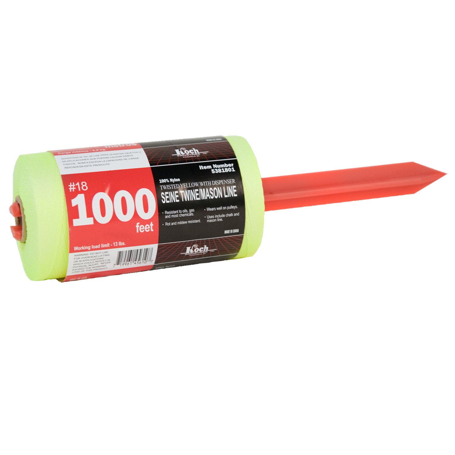 Yellow Koch Industries 5381801 Twisted Mason Line with Tube with Dispenser 18-Feet By 1000-Feet