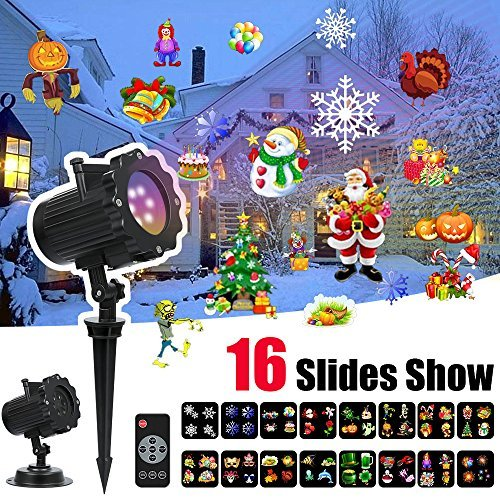 tor Lights - Led Landscape Spotlight with 16 Full Color Slides Motion Led Light Projector for Christmas,Halloween,Thanksgiving,Birthday,Party,Easter,Wedding,Holiday Decoration ()