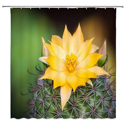 Amazon Bcnew Yellow Flower Shower Curtain Decor Green Cactus