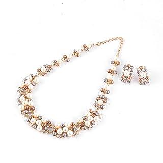 Handcrafted Perle d'imitazione in Lega della Collana del Pendente Lucide delle Donne Orecchini Insiemi dei monili per la Festa Nuziale